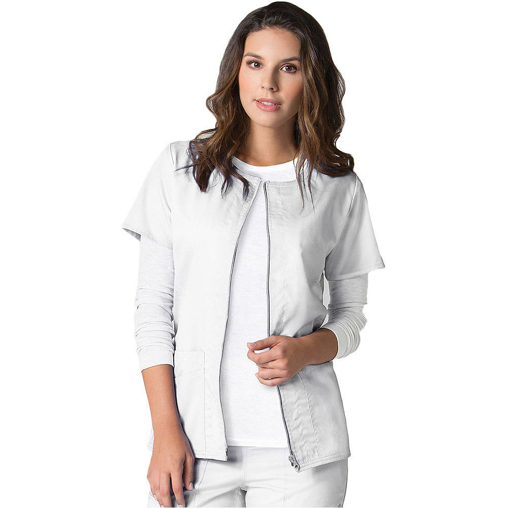 Sporty Short Sleeve Zip Front Solid Scrub Jacket – Sharas